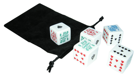 1 Inch Poker Dice in Velour Bag