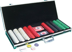 Complete Poker Set - Black-Trimmed Aluminum Case, Diamond Chips, Bee Cards, and Poker Buttons