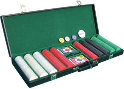 Complete Poker Set - Black Leatherette Case, Diamond Chips, Bee Cards, and Poker Buttons