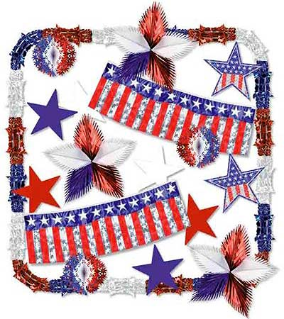 Patriotic Stars and Stripes Metallic Decorating Kit