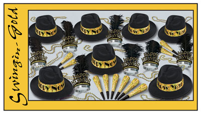 New Year's Eve Swinging Gold Decorating Kit
