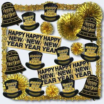 New Year's Eve Glistening Gold Decorating Kit