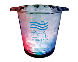 Custom Imprinted Clear, Light-Up Ice Buckets with a 1 to Full Color Imprint