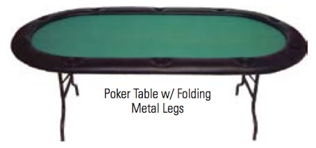 Casino Style Poker Tables with Folding Metal Legs