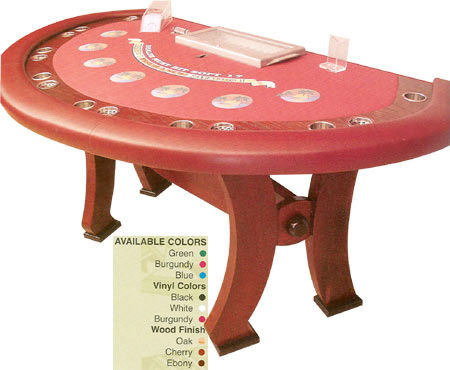 Blackjack Table with Curved Wooden Legs