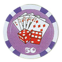 Pre Denominated Royal Flush and Dice Poker Chips
