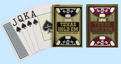 Copag Texas Holdem Cards, Black and Burgundy Set