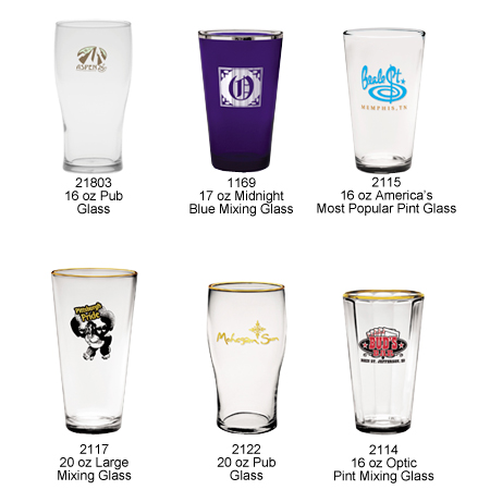 Custom Imprinted Mixing and Pub Glasses