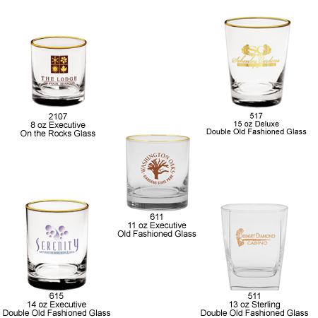 Custom Imprinted Rock and Old Fashioned Glasses