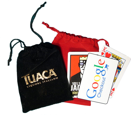 Branded Playing Cards in Personalized Velour Drawstring Bag
