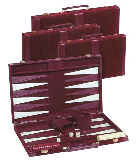 Maroon Velour Designer Backgammon Sets