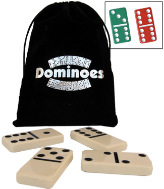 Double Six Dominoes in Velveteen / Velour Drawstring Bags
