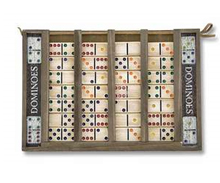 Dominoes Set with Colorful Wood Tiles and Case
