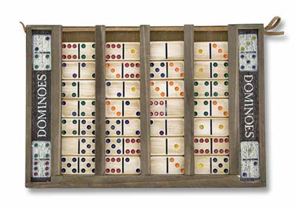 Domino Set with Colorful Wooden Tiles and Case