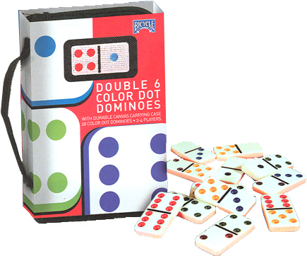 Double Six Color Dot Domino Set in Black Carrying Case