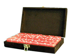 Dominoes Sets in Velveteen Box with Red Tiles