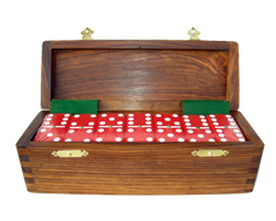Double Six Dominoes in a Hardwood Case
