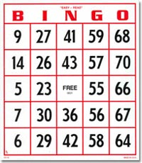 Easy Read Bingo Hard Card with Large Numbers