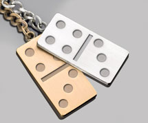 Gold and Silver Domino Key Rings