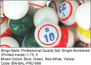Single Numbered Bingo Balls
