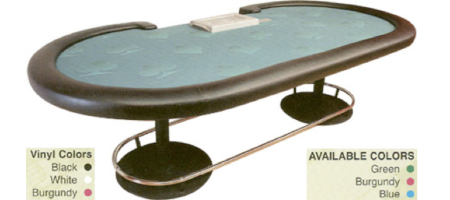 Poker Table with Twin Base Metal Legs and Foot Rail