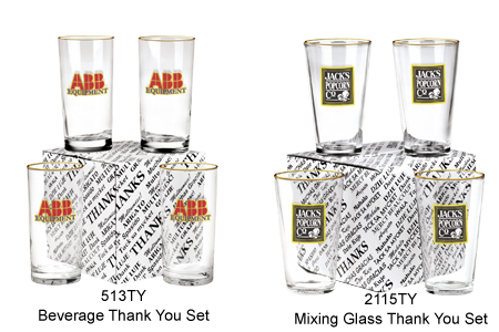 Custom Imprinted Thank You Glass Sets
