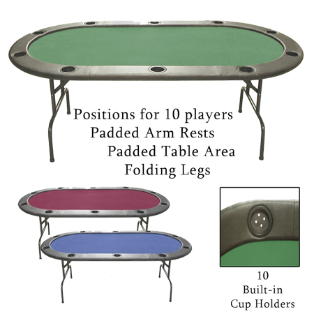 Casino Style 83 inch Value-Line Poker Tables with Folding Metal Legs
