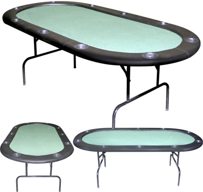 Casino Style 96 inch Value-Line Poker Tables with Folding Metal Legs