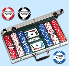 Official World Poker Tour Set with WPT Poker Chips, WPT Cards, Dice and Texas Hold'em Rules