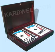 World Poker Tour Playing Cards in Handsome Hard Wood Box