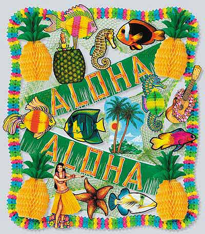 luau tropical decorations luau theme decorating kits with assorted tropical decorations. Black Bedroom Furniture Sets. Home Design Ideas