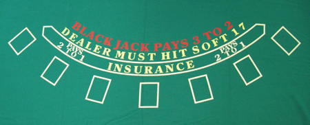 Custom Synthetic Polyester Blend Blackjack Layout For Red Casino