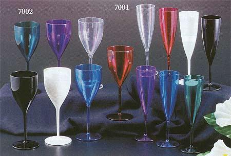 crystal plastic flutes and wine glasses